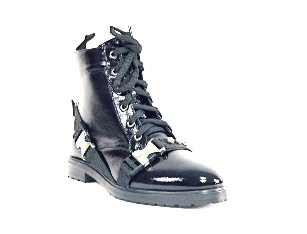 """kožená a atestovaná obuv Luxusní kotníčkové lakované kožené boty """"A1354"""" černé Crux"""