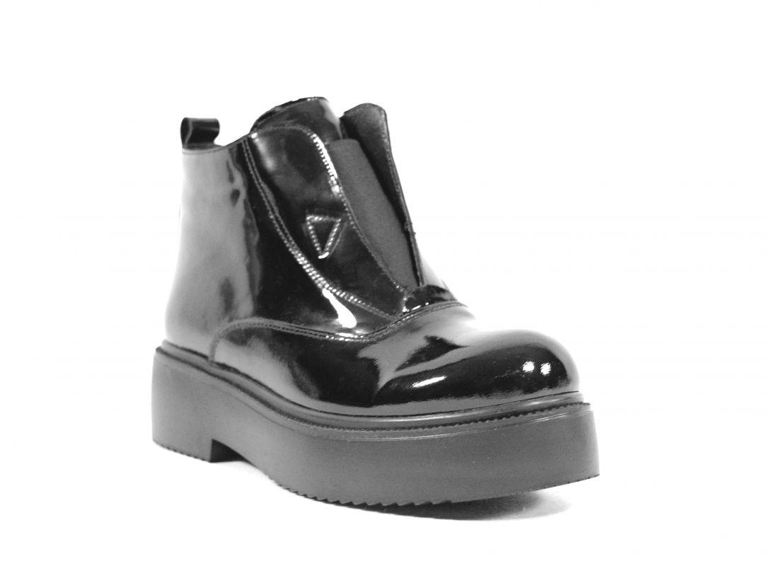 kožená a atestovaná obuv Luxusní zimní kotníkové boty 7067,lesklé černé Marcella