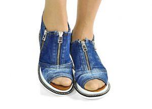 """kožená a atestovaná obuv Model pro letošní léto Jeans kotníčkové sandály """"STYL BLUEMOON"""" 94325 Starbluemoon"""