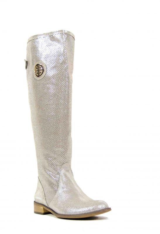 kožená a atestovaná obuv Nepromokavé kozačky 322 s dvojkombinací zipu v z střibrnobežové lakované barvě Exquisite
