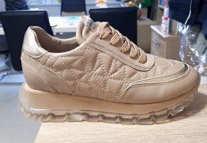 """kožená a atestovaná obuv Originální džínové tenisky """"Alpino"""" 21YA-951 s přidáním malého klínku, bežové"""