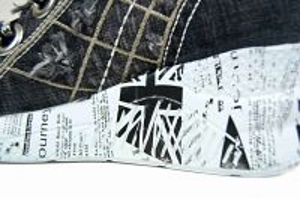 kožená a atestovaná obuv Riflové kotníkové tenisky s potiskem anglické vlajky na platformě Starbluemoon
