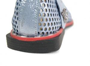 kožená a atestovaná obuv Stylové dámské mokasíny Marcella 302, modré bílé s červeno černou podešví