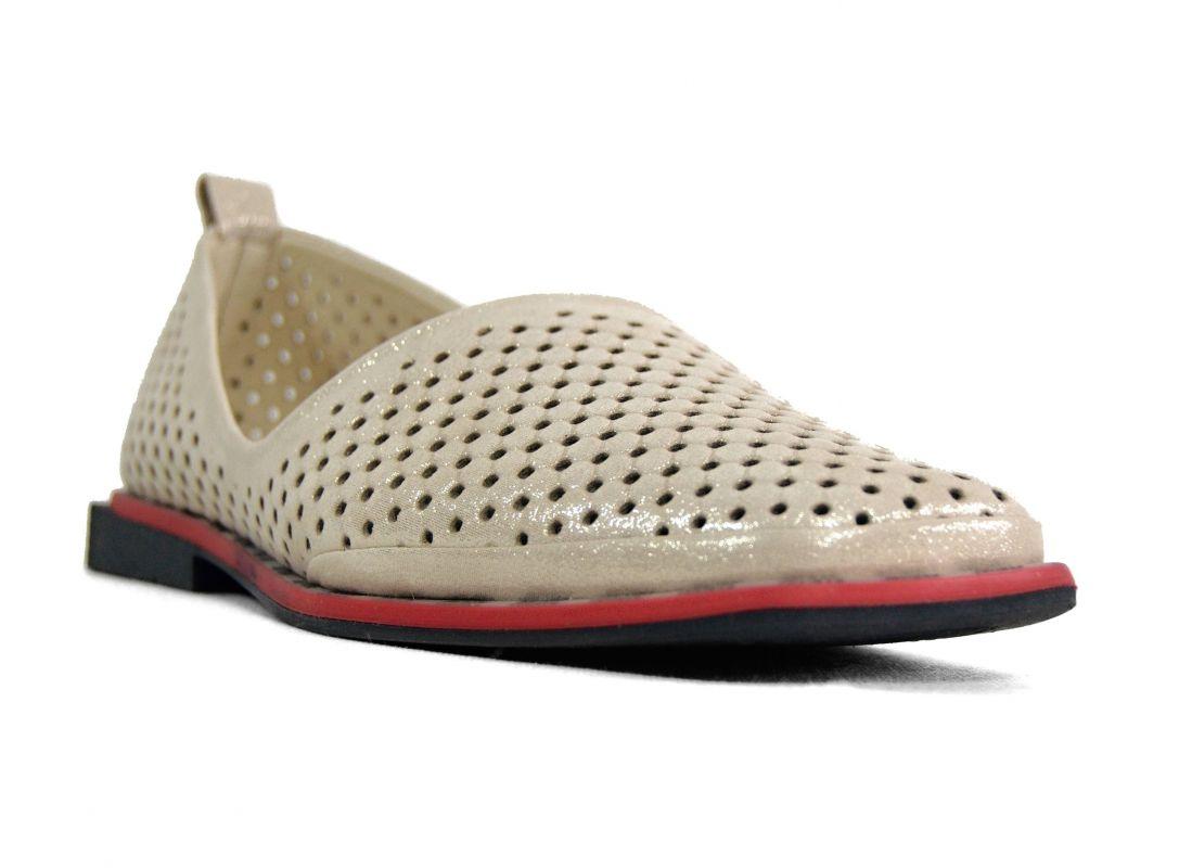 kožená a atestovaná obuv Stylové dámské mokasíny Marcella 356, bezové s červeno černou podešví