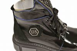 "kožená a atestovaná obuv Zateplené kožené módní workery na platformě""21+TAB24"",černé Crux"