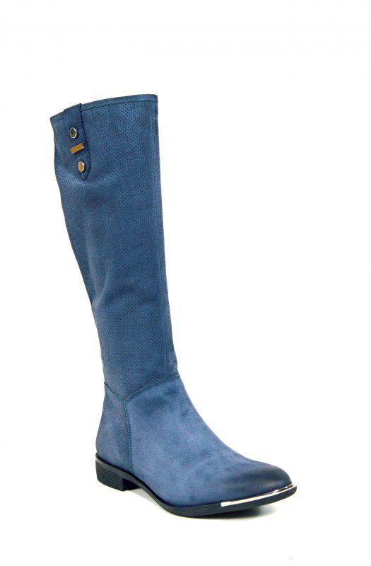 """kožená a atestovaná obuv Zimní kozačky CheBello B.1787 s perforací ,, dírkování ♦️ """", modrá"""