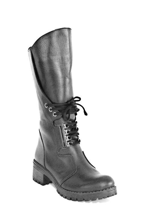 kožená a atestovaná obuv Zimní kožené kozačky 358 černé Marcella