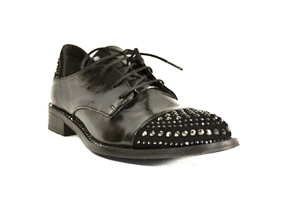 kožená a atestovaná obuv Dámské kožené lakované polobotky 114-102, černé Donna Style