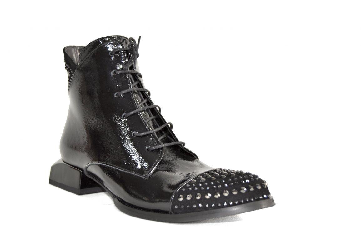 """kožená a atestovaná obuv Trendy dámské černé kotníčkové boty """"Donna style"""" 114-325"""