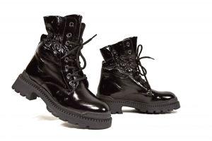 kožená a atestovaná obuv Černé farmářky zateplené, 92800-M2 Donna Style