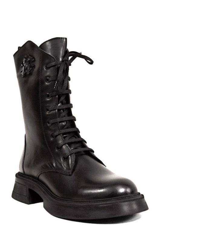 kožená a atestovaná obuv Kožené kozačky Donna style 012 se zipem na nízkém podpatku, černá