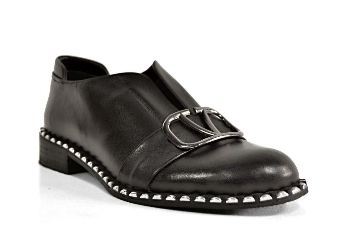 """kožená a atestovaná obuv Luxusní dámské polobotky """"MarcellaShoes"""" 114-337 s černou platformou Donna style"""