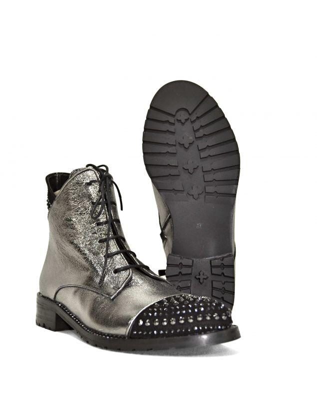 kožená a atestovaná obuv Nepromokavé kotníkové šněrovací botky 114-313 , Stříbrnočerné Di Lusso Italy