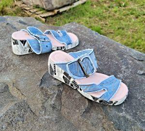 kožená a atestovaná obuv Riflové páskové sandálky 921 na platformě Starbluemoon