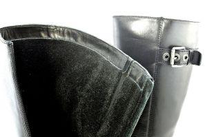 kožená a atestovaná obuv Zimní kožené kozačky 35367 na podpatku, černé Di Lusso Italy