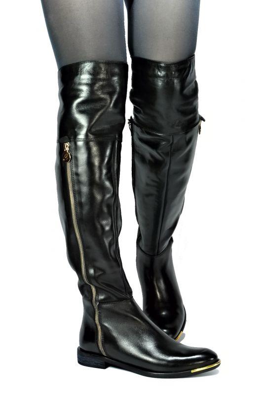 kožená a atestovaná obuv Luxusní kožené dámské kozačky CARINII