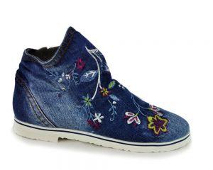 kožená a atestovaná obuv Riflové kotníkové botky 9-45 s jarními motivy Blue Lion