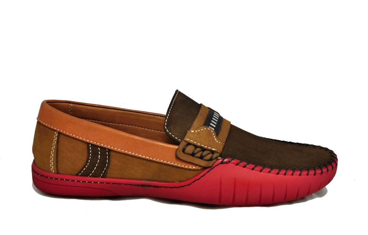 kožená a atestovaná obuv Panské kožené mokasíny 723 s trojbarevnou kombinací Paul Cruiz
