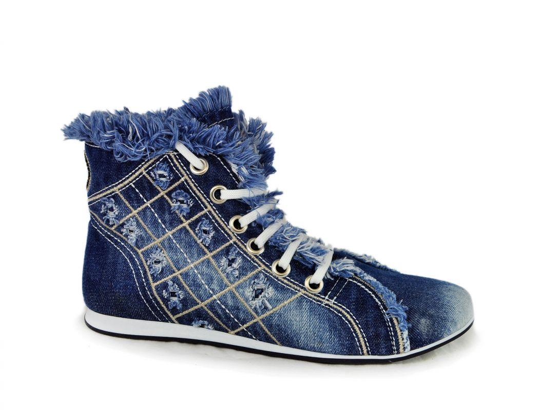 kožená a atestovaná obuv Riflové kotníkové botky 069 na šněrování Starbluemoon