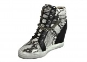 kožená a atestovaná obuv Kotníčkové boty B.3028 s hadím vzorem na skrytém klínu CARINII
