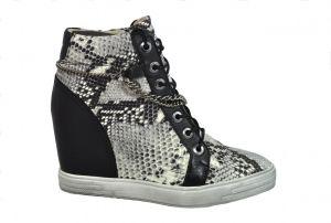 Kotníčkové boty B.3028  s hadím vzorem na skrytém klínu