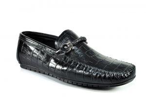 "kožená a atestovaná obuv Panské kožené mokasíny Paul Cruiz 1964 ,,krodýlí perforace"", černá"