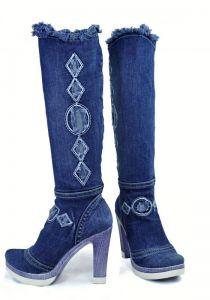 kožená a atestovaná obuv Riflové kozačky Emani 9-014 se sloupkovitým podpatkem