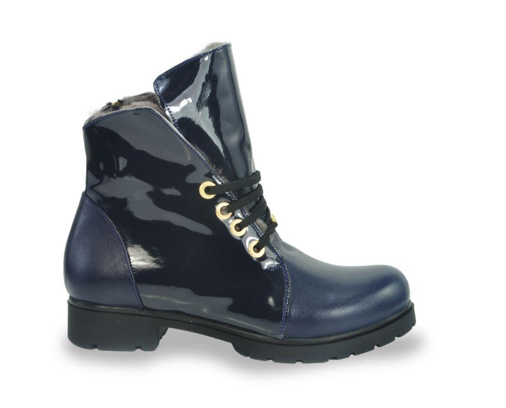 kožená a atestovaná obuv Kotníkové botky 264 se šněrováním, Dark Blue Atibur