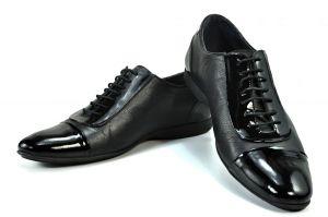 kožená a atestovaná obuv Kožené pánské boty 213 s lakovanou špičkou a zápatí na šněrování Hafe - iN shoes