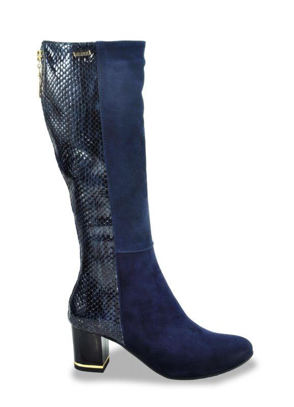 """kožená a atestovaná obuv Luxusní zimní kozačky na podpatku """"EXCLUSIVE"""" - Modré Exquisite"""