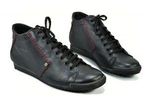 kožená a atestovaná obuv Pánské kožené tenisky černé CAPRIO