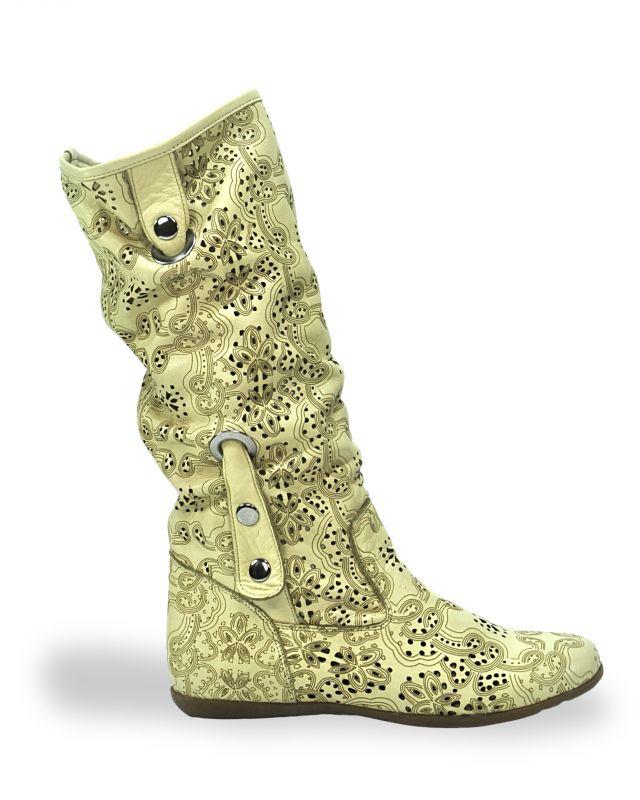 """kožená a atestovaná obuv Béžové kozačky 504 s perforací ,,dírkování"""" s floralním potiskem Bagira"""