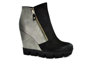 Zimní kotníkové boty na klínku B.2942, šedo černé