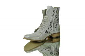 """kožená a atestovaná obuv Kožené kotníkové boty """"866"""" Bílo-stříbřité,nebo zlatavé - 38 Exquisite"""