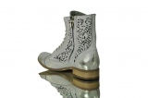 """kožená a atestovaná obuv Kožené kotníkové boty """"866"""" Bílo-stříbřité,nebo zlatavé Exquisite"""