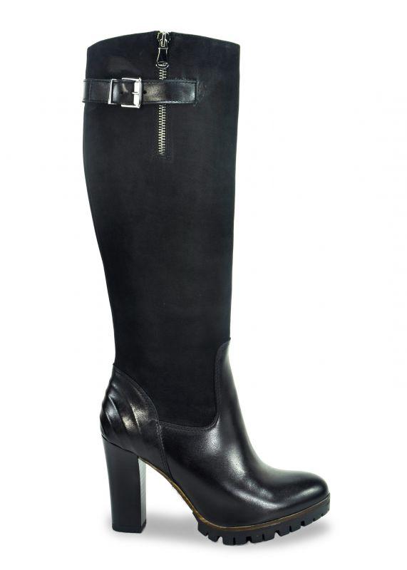 kožená a atestovaná obuv Luxusní kozačky na podpatku B.3044,black CARINII