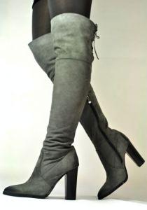 kožená a atestovaná obuv Luxusní semišové kozačky Carinii B.3020, nezateplené