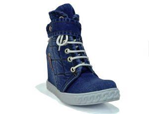 kožená a atestovaná obuv Riflové kotníkové botky 51 - 09 s kombinací zipu a šněrování na klínu Ermani