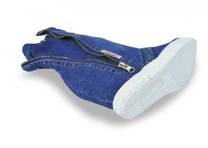 kožená a atestovaná obuv Riflové polokozačky na klínku Emani