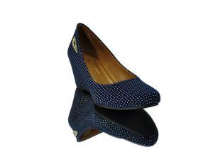 """kožená a atestovaná obuv Semišové lodičky 021 s perforací ,, bílé tečkování """" na klínu, modré Marcell"""