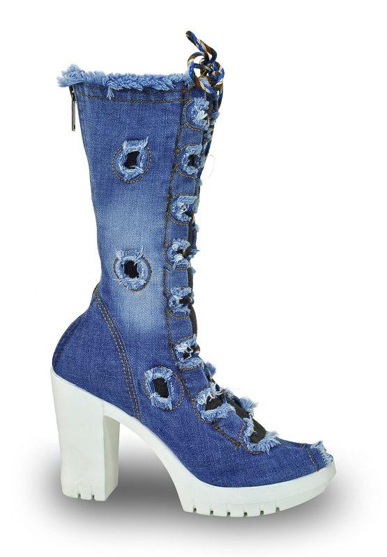 """kožená a atestovaná obuv Kotníkové botky Jeans 5038 na šněrování ,,peep toe"""" Starbluemoon"""