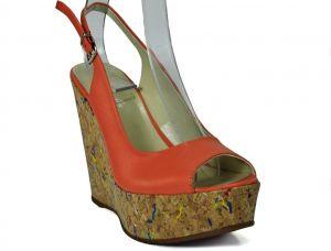 Páskové sandálky Marcella 5769 na klínu, oranžové