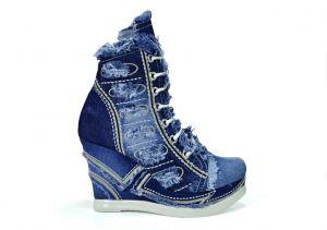 kožená a atestovaná obuv Riflové kotníkové botky 2073 s kombinací zipu a šněrování na klínu Starbluemoon