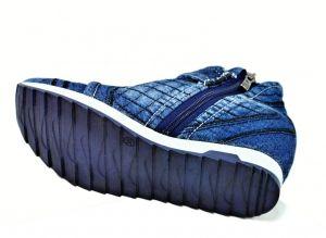 kožená a atestovaná obuv Riflové kotníkové botky 3056 s kombinací zipu a šněrování na klínu Starbluemoon