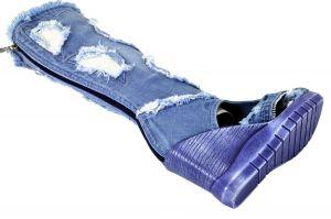"""kožená a atestovaná obuv Riflové kozačky 5043 v kombinaci sandálek a otevřené špičky ,,peep toe"""" Starbluemoon"""