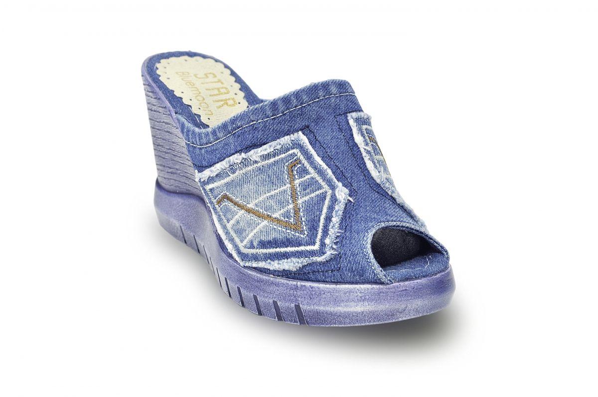 kožená a atestovaná obuv Riflové sandálky Star-Bluemoon 430 s třásněmi na platformě Starbluemoon