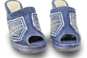 kožená a atestovaná obuv Riflové žabky Star-Bluemoon 430 s třásněmi na platformě Starbluemoon