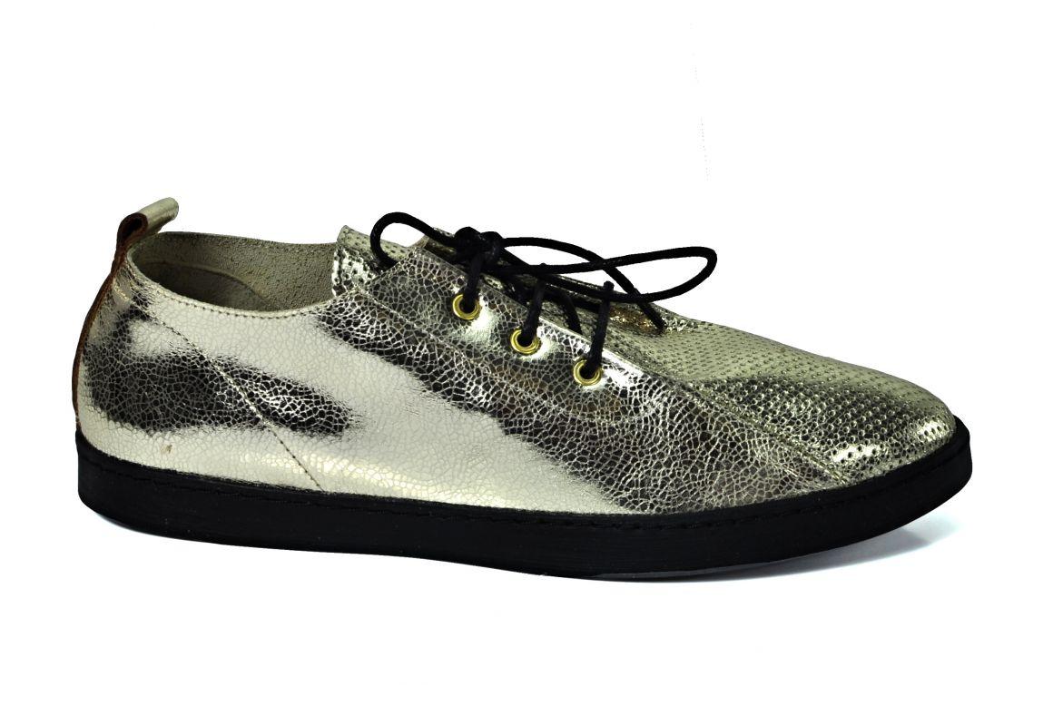 """kožená a atestovaná obuv Zlaté tenisky Baybars 16010 s perforací ,, dírkování ○ """" na šněrování"""